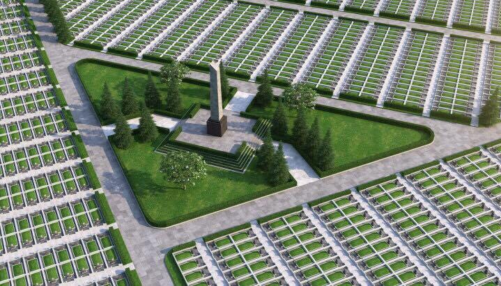 Mộ đơn với diện tích 4,05m2; mộ đôi với diện tích 9,1m2 sản phẩm đã bao gồm hố kim tĩnh