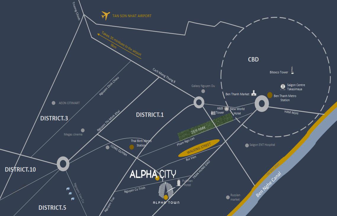 Vị trí của dự án Alpha City kết nối với các điểm